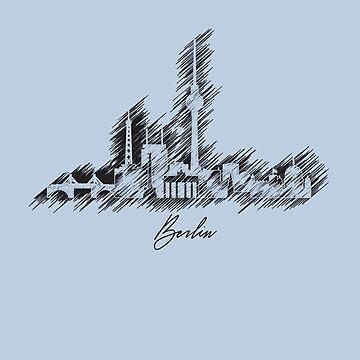 Berlin graphic scribble skyline in black by DimDom