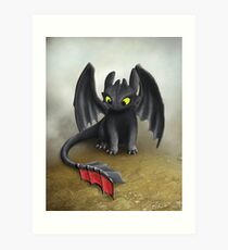 Toothless Dragon inspired from How To train Your Dragon. Art Print