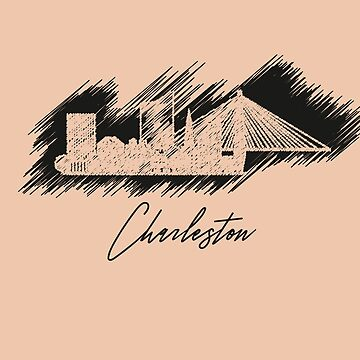 Charleston graphic scribble skyline in black by DimDom