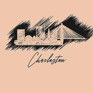 Charleston graphic scribble skyline in black by DimDom