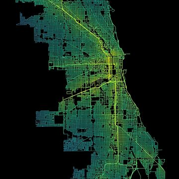 Chicago, Illinois, Colored USA Street Network Map Graphic by ramiro