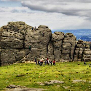 Climbing Haytor, Dartmoor, Devon. by Squealia