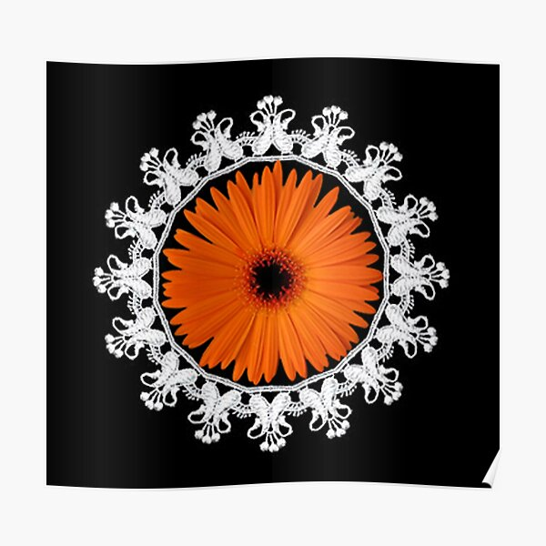 LACE GERBERA FLOWER... PICTURE,PILLOW,TOTE BAG,ECT.. Poster