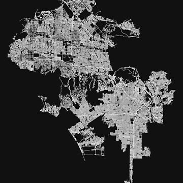 Los Angeles, California, USA Street Network Map Graphic by ramiro
