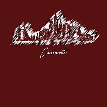 Cincinnati graphic scribble skyline  by DimDom