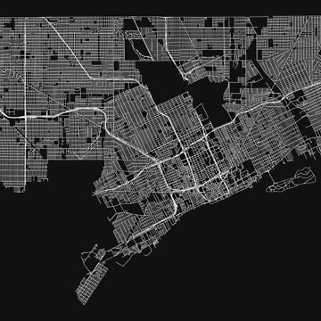 Detroit, Michigan, USA Street Network Map Graphic by ramiro