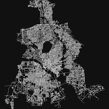 Dallas, Texas, USA Street Network Map Graphic by ramiro