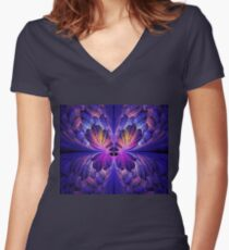 Blue Paper Butterfly Women's Fitted V-Neck T-Shirt