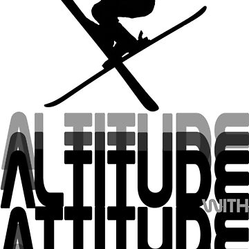 Altitude With Attitude Skier - Black | Ski Designs | DopeyArt by DopeyArt