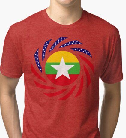 Myanmar American Multinational Patriot Flag Series Tri-blend T-Shirt