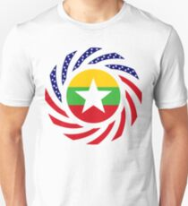 Myanmar American Multinational Patriot Flag Series Slim Fit T-Shirt