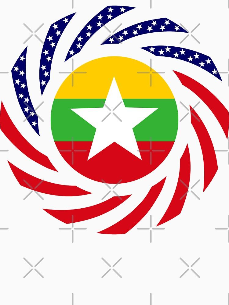 Myanmar American Multinational Patriot Flag Series by carbonfibreme