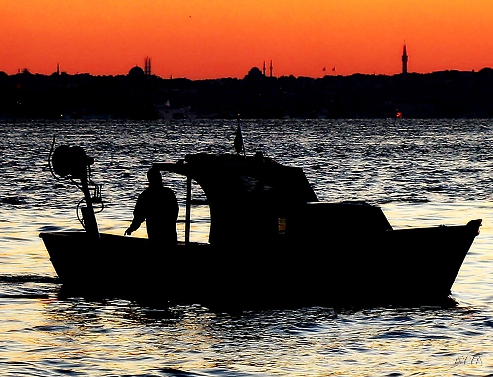 sunset boat by AYYA
