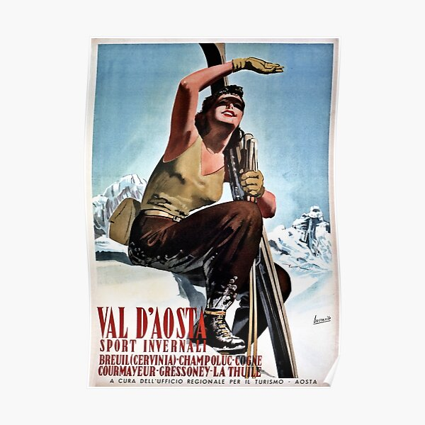 Vintage Italian winter sports travel ad Aosta Valley Poster