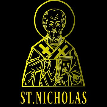 St. Nicholas Christianity Religious Saint Icon Gold Color Design by mrkprints