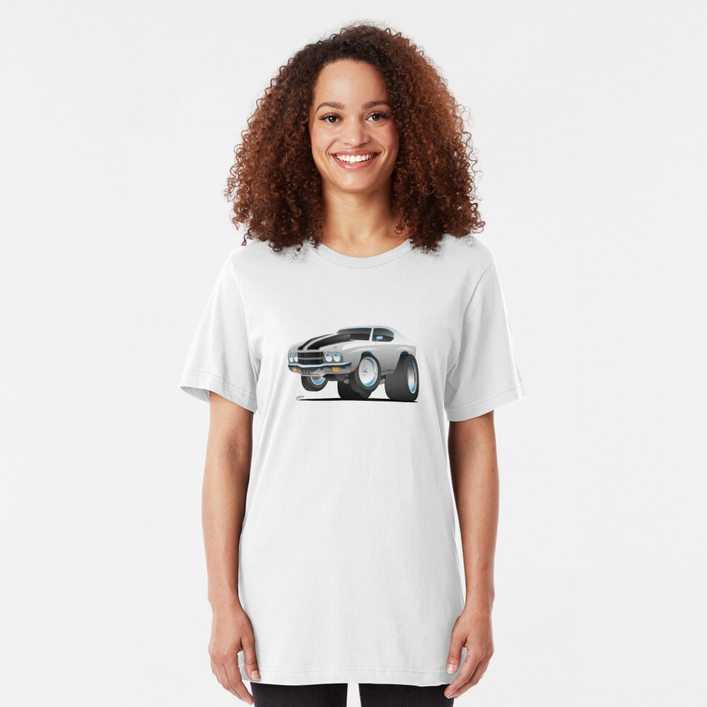 Classic 70's American Muscle Car Cartoon Slim Fit T-Shirt
