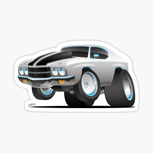 Classic 70's American Muscle Car Cartoon Sticker