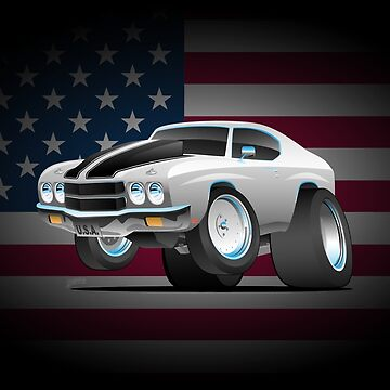 Classic 70's American Muscle Car Cartoon by hobrath