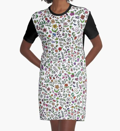 Flowers Are Everywhere Graphic T-Shirt Dress