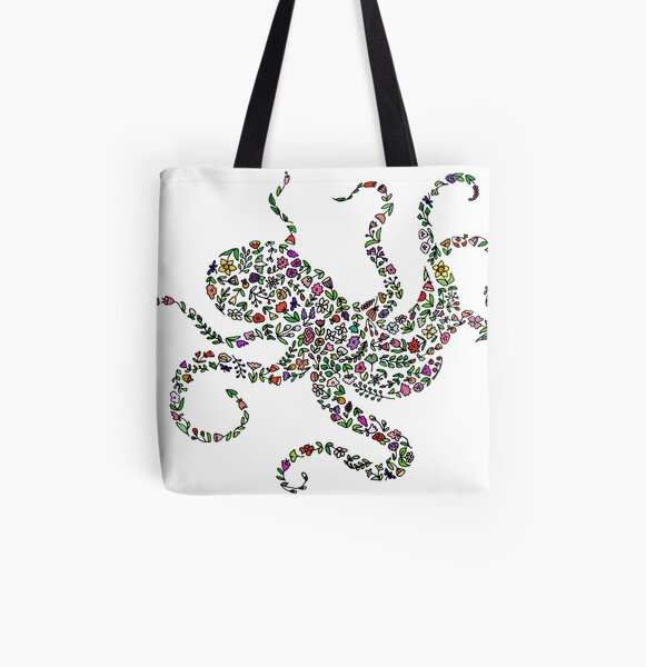 Floral Octopus All Over Print Tote Bag