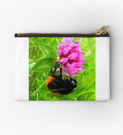 Bumblebee on red clover Studio Pouch