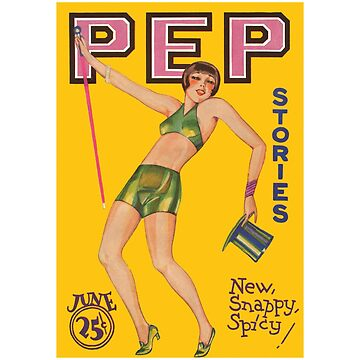 1920s Sexy Flapper - Pep Stories Magazine Cover Design by Chunga