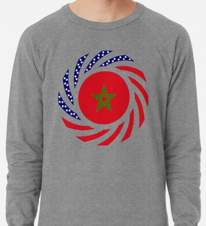 Moroccan American Multinational Patriot Flag Series Lightweight Sweatshirt