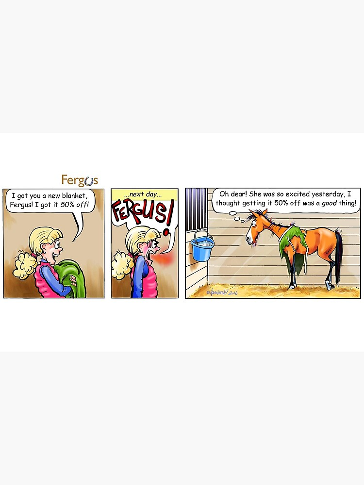 """Fergus the Horse: """"50% Off"""" Comic Strip by JeanAbernethy"""
