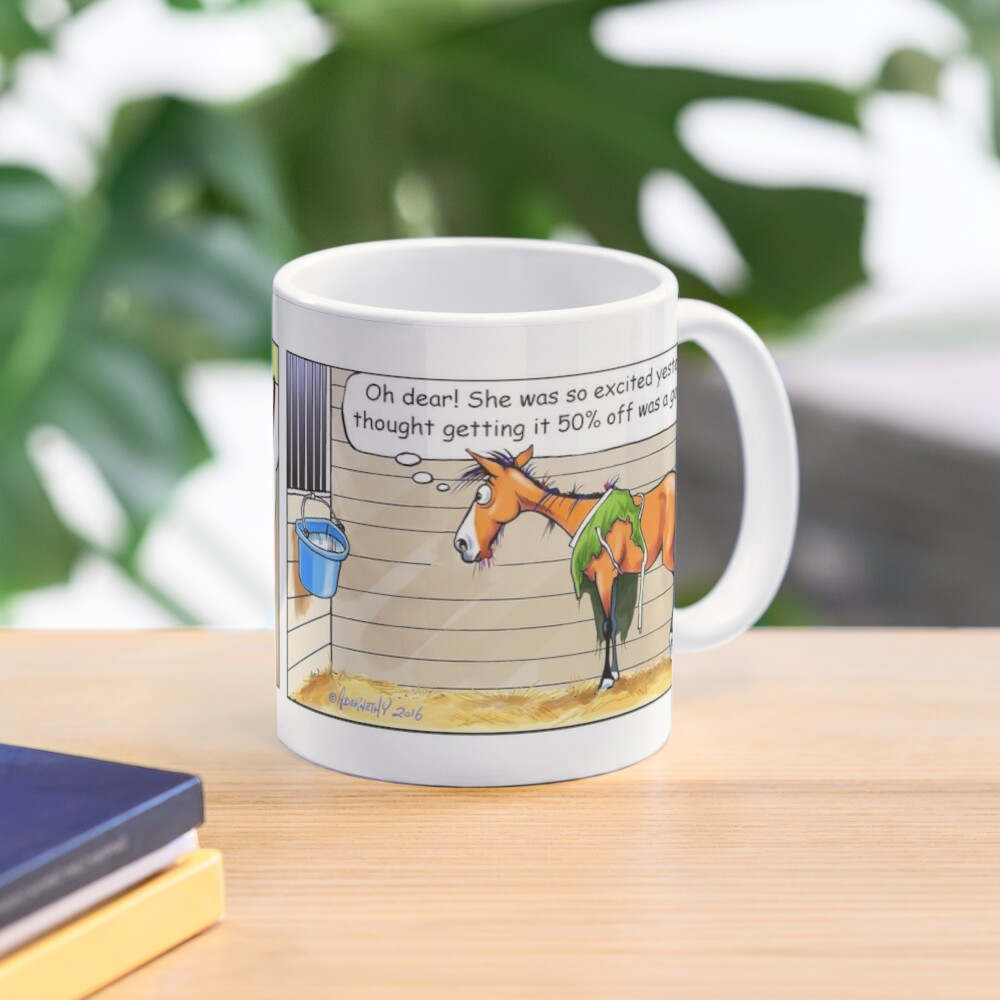 """Fergus the Horse: """"50% Off"""" Comic Strip Mug"""