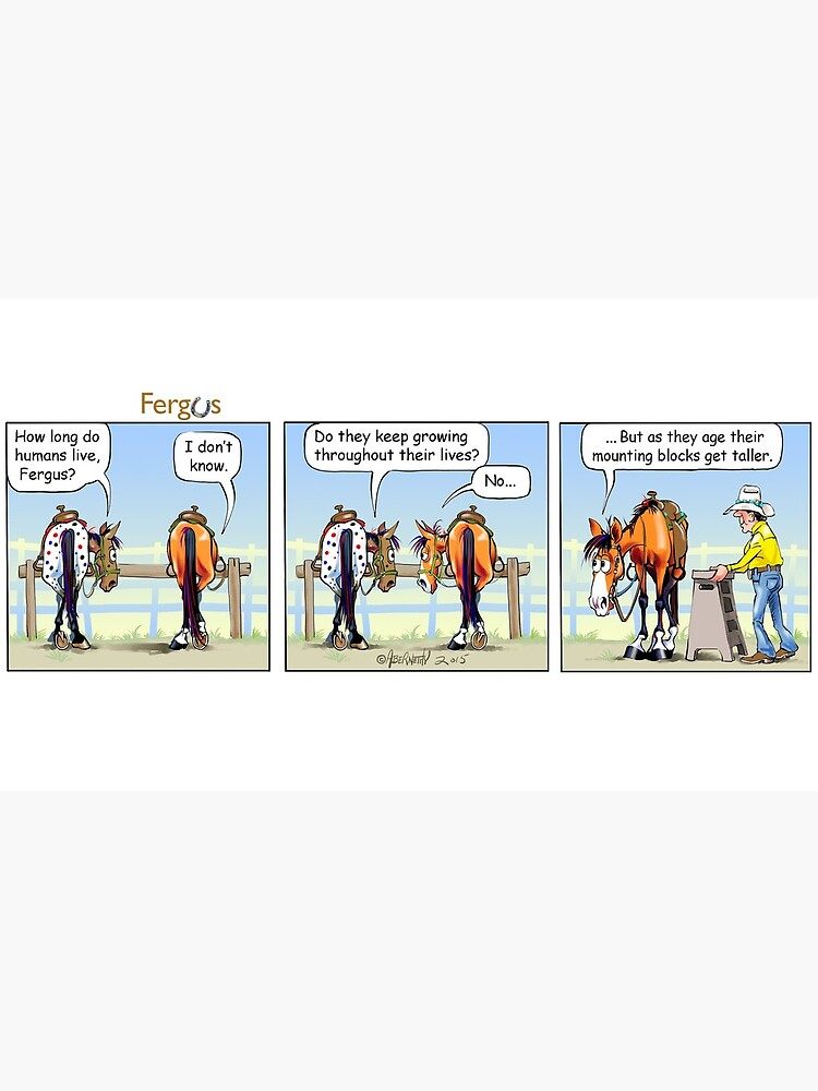 """Fergus the Horse: """"Aging Mounting Block"""" Comic Strip by JeanAbernethy"""