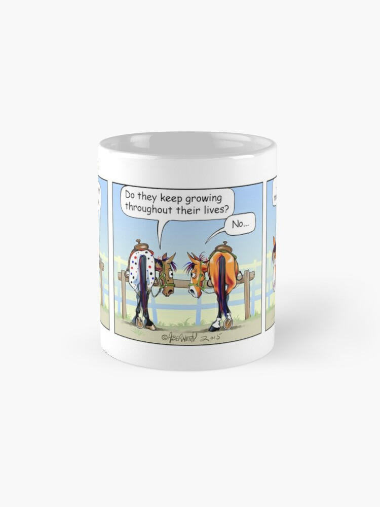 "Alternate view of Fergus the Horse: ""Aging Mounting Block"" Comic Strip Mug"