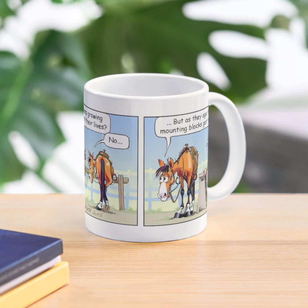"""Fergus the Horse: """"Aging Mounting Block"""" Comic Strip Mug"""