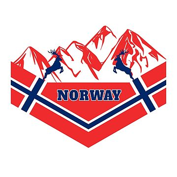 Norway mountains / national flag flag gift Scandinavia by Rocky2018