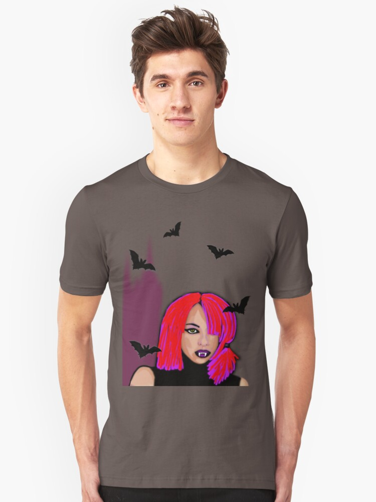 Halloween fun-Girly vampire with bats  Unisex T-Shirt Front