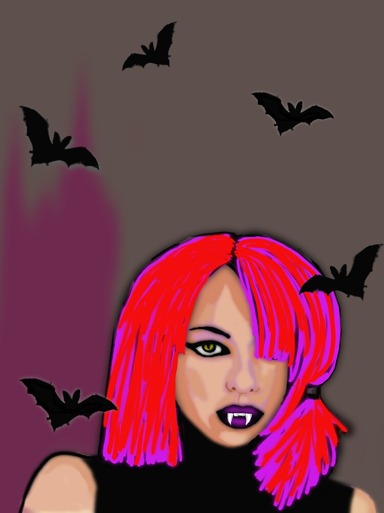 Halloween fun-Girly vampire with bats  by Marilyns