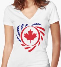 Canadian American Multinational Patriot Flag Series 2.0 Women's Fitted V-Neck T-Shirt