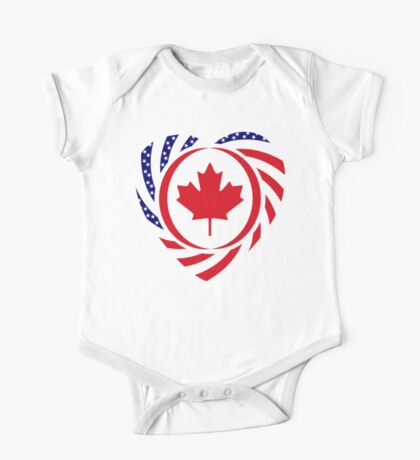 Canadian American Multinational Patriot Flag Series (Heart) Kids Clothes