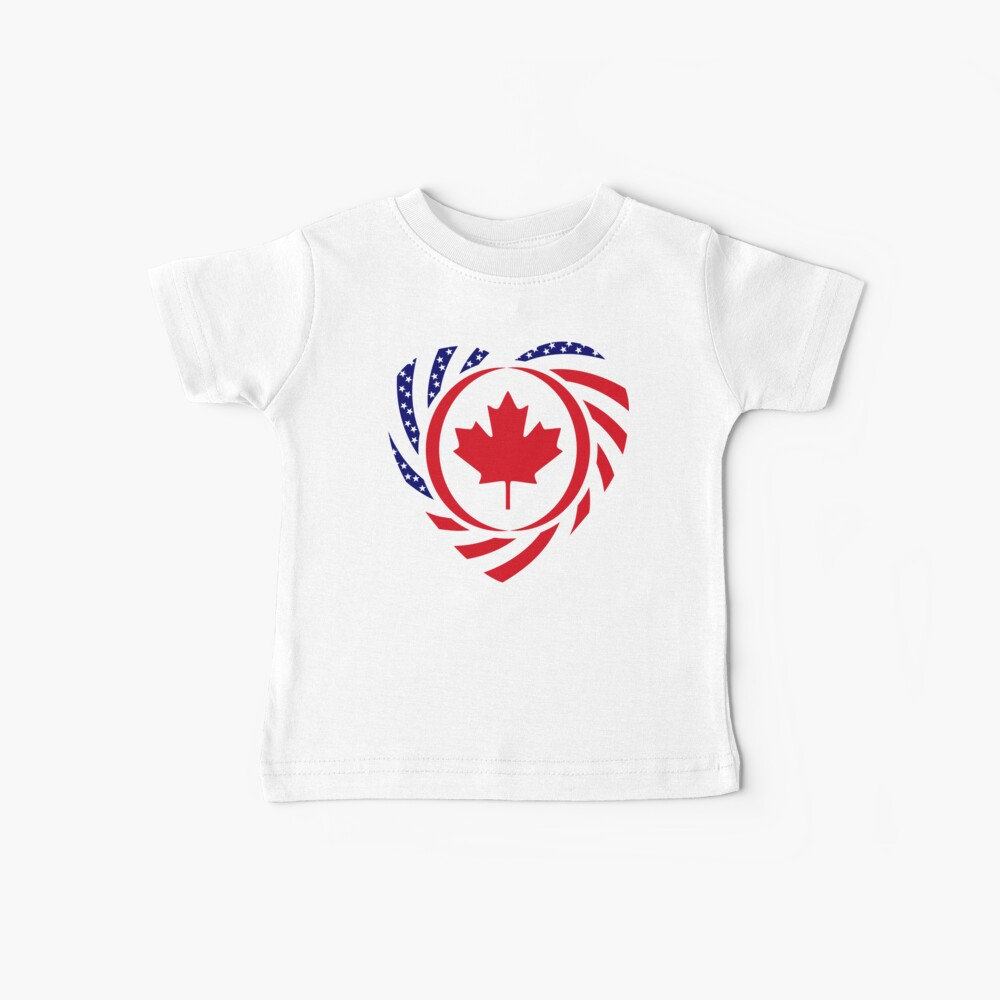 Canadian American Multinational Patriot Flag Series (Heart) Baby T-Shirt