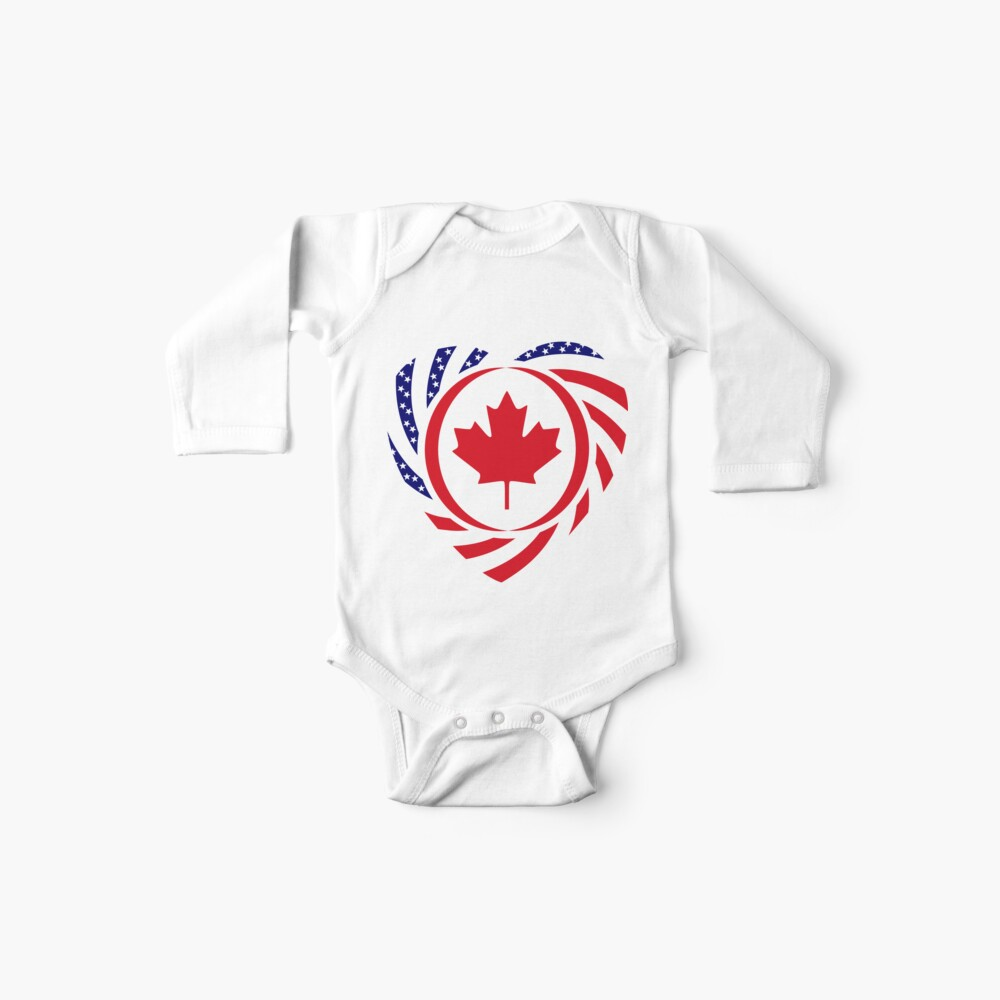 Canadian American Multinational Patriot Flag Series (Heart) Baby One-Piece