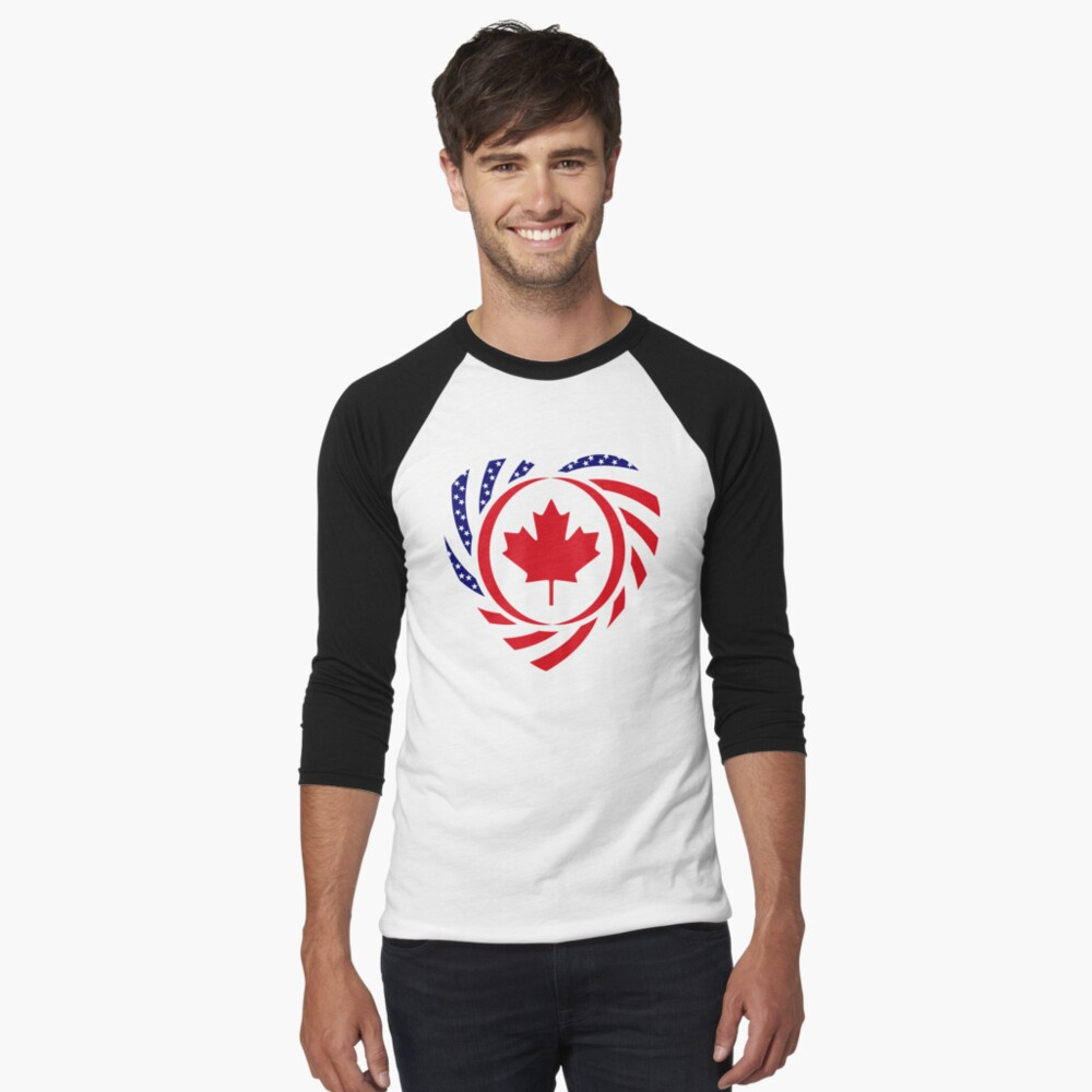Canadian American Multinational Patriot Flag Series (Heart) Baseball ¾ Sleeve T-Shirt