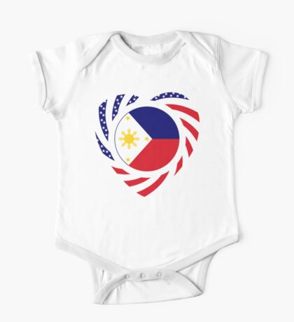 Filipino American Multinational Patriot Flag Series (Heart) Kids Clothes