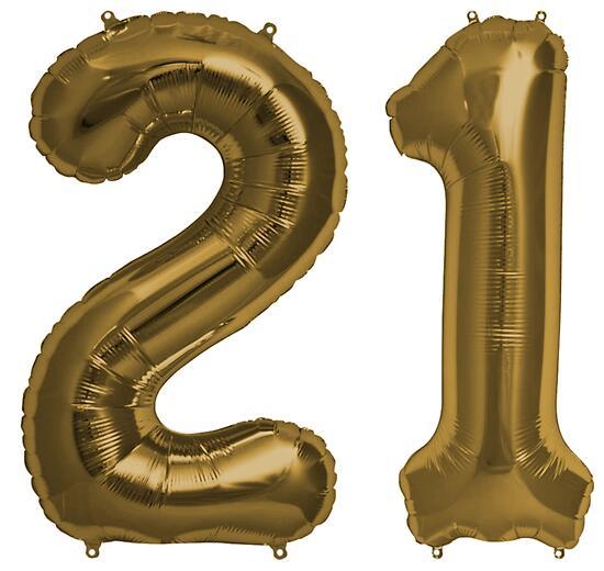 Bronze 21st Birthday Metallic Helium Balloons Numbers By Birthdates
