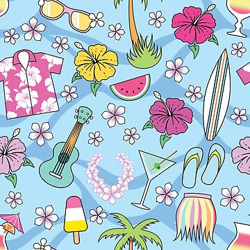 Tropical Hawaiian Pattern Blue by Fangpunk