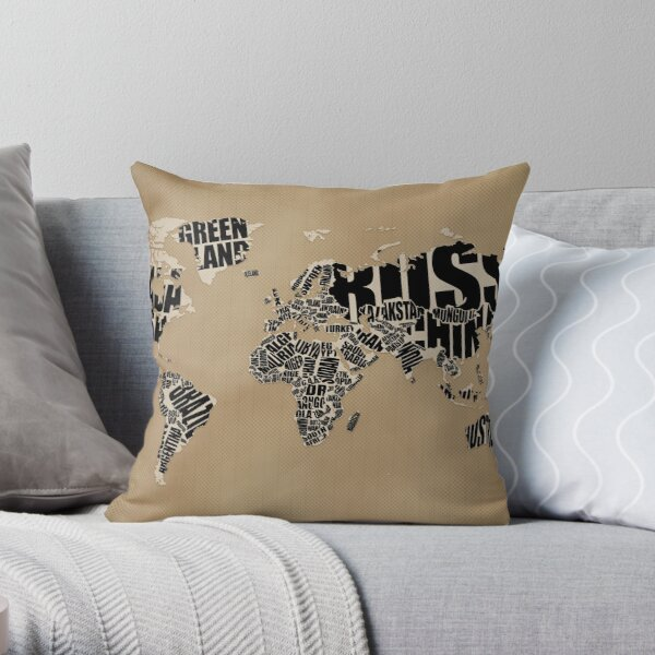 Typographic World Map Throw Pillow