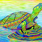 Psychedelic Rainbow Colorful Neon Painted Water Turtle by Rebecca Wang