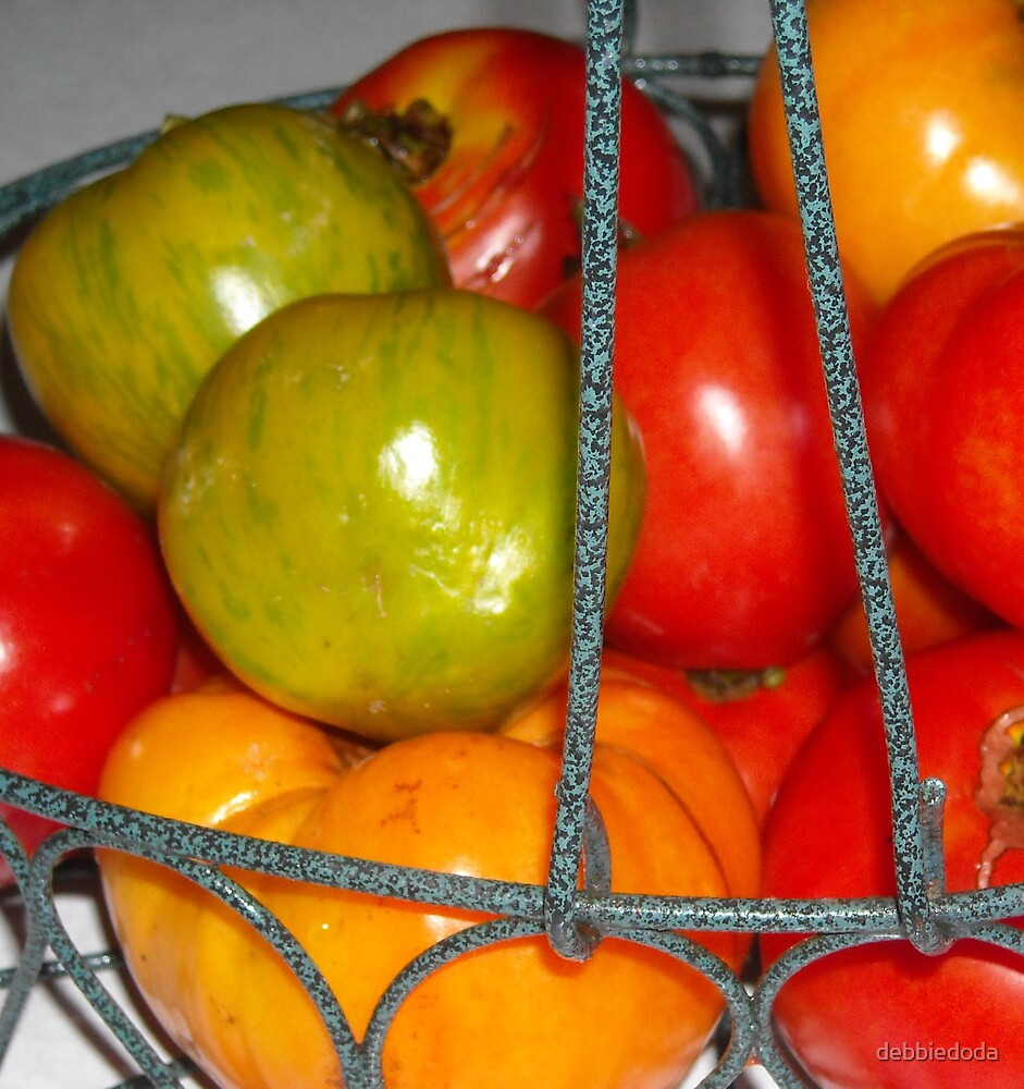 Basket of Tomatoes by debbiedoda