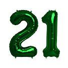 Bright Green 21st Birthday Metallic Helium Balloons Numbers by Birthdates