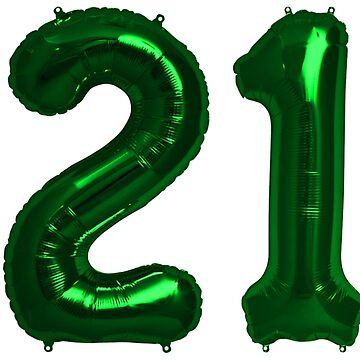 Bright Green 21st Birthday Metallic Helium Balloons Numbers by Birthdates