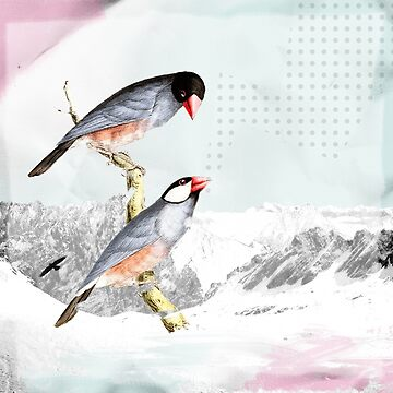 Birds Landscape Pastel Illustration Art Graphic by STYLESYNDIKAT