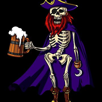 Skeleton Pirate Captain Funny Beer Halloween Party by underheaven